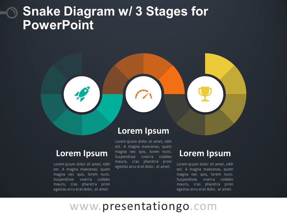 Free Snake Diagram with 3 Stages for PowerPoint - Dark Background