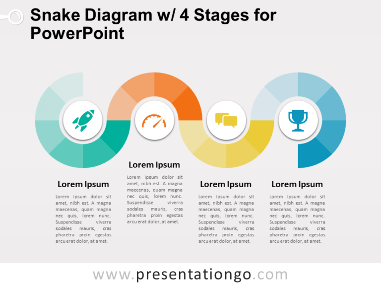Free Snake Diagram with 4 Stages for PowerPoint