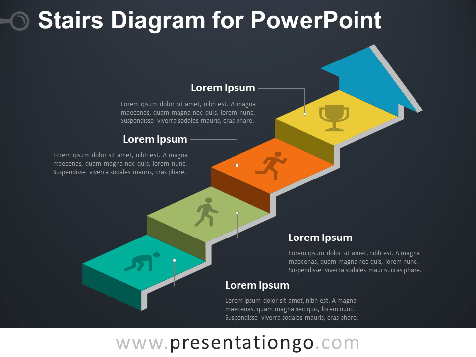 Free Stairs Diagram for PowerPoint - Dark Background