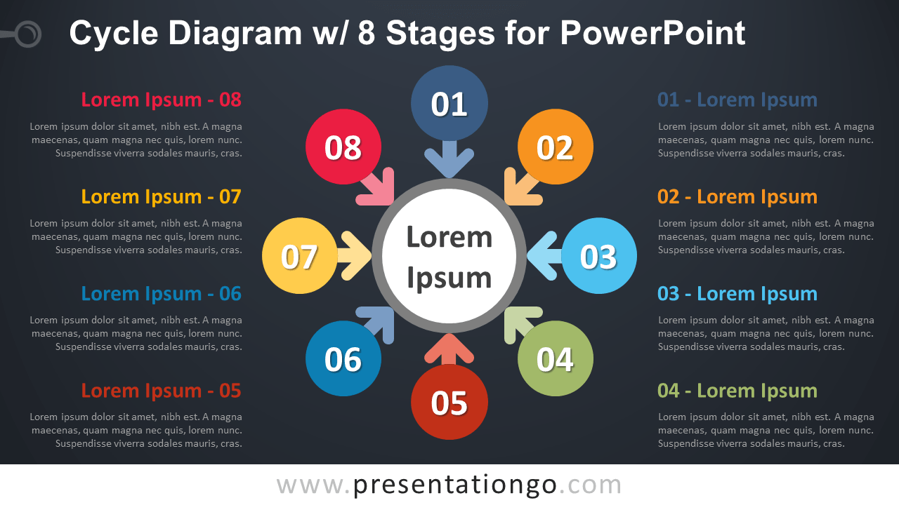 Free Cycle with 8 Stages for PowerPoint - Dark Background