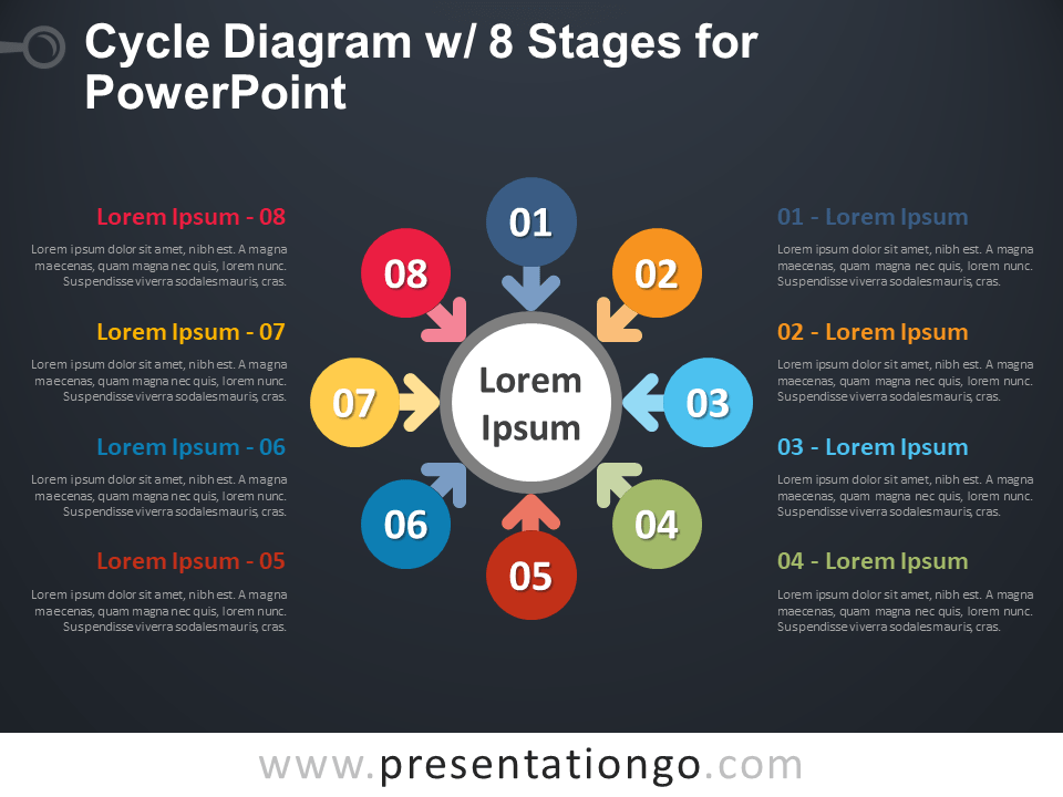 Free Cycle Diagram with 8 Stages for PowerPoint - Dark Background