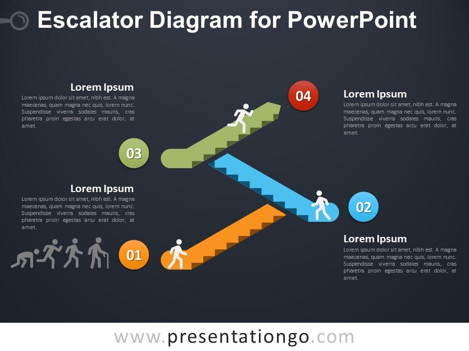Free Escalator Graphics for PowerPoint - Dark Background