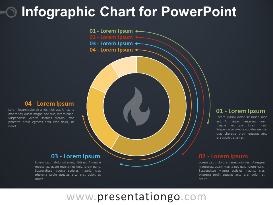 Free Infographic Chart for PowerPoint - Dark Background