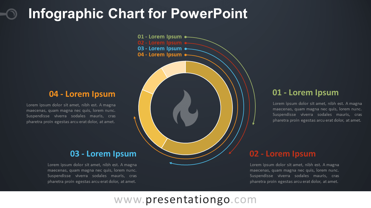 Free Infographic Chart Template for PowerPoint - Dark Background
