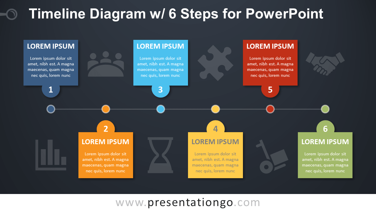 Free Timeline with 6 Steps PowerPoint Diagram - Dark Background