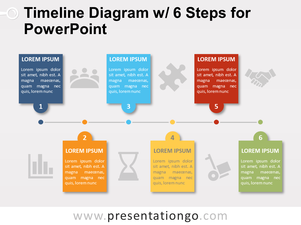 timeline with 6 steps for powerpoint. Black Bedroom Furniture Sets. Home Design Ideas