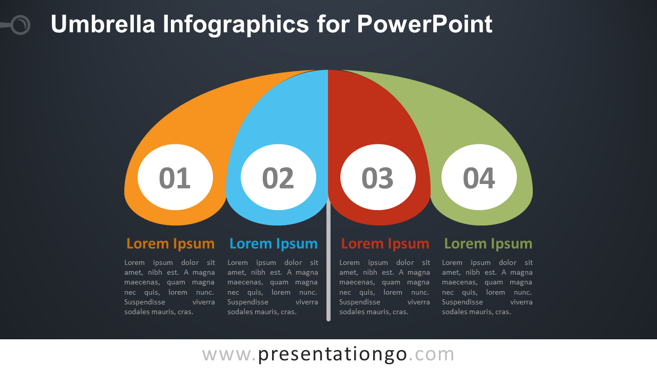 Free Umbrella Infographics Diagram for PowerPoint - Dark Background
