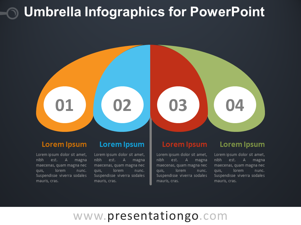 Free Umbrella Infographics for PowerPoint - Dark Background