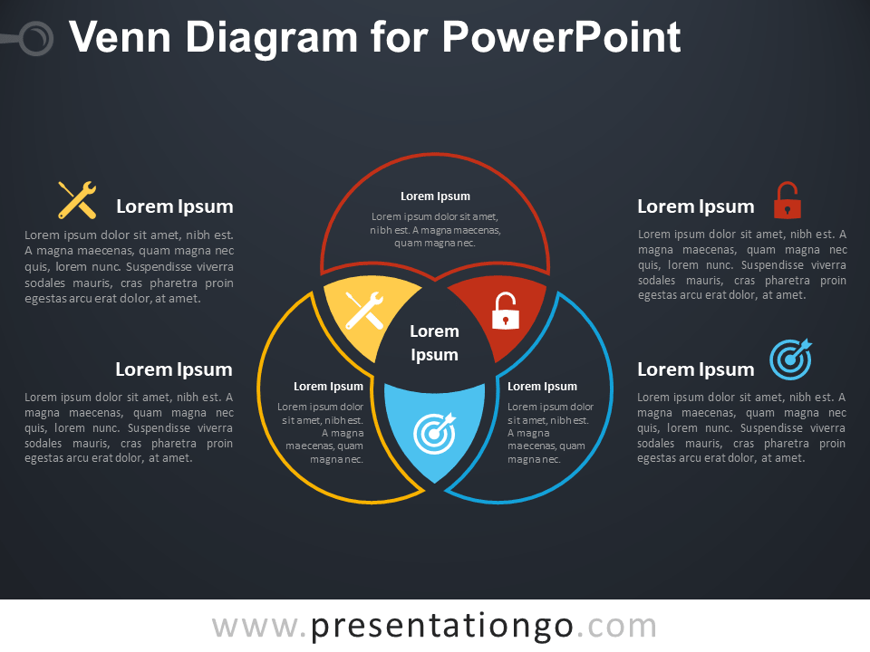 Free Venn Diagram for PowerPoint - Dark Background