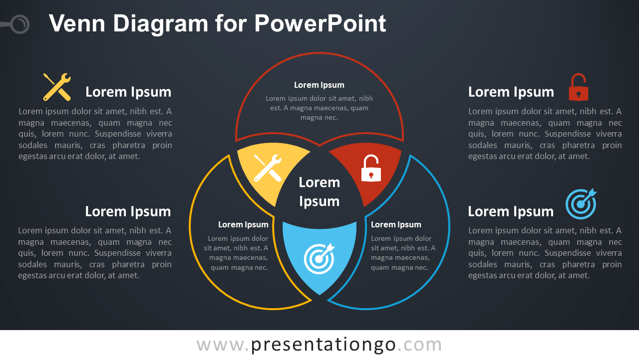 Free Venn Diagram Template for PowerPoint - Dark Background