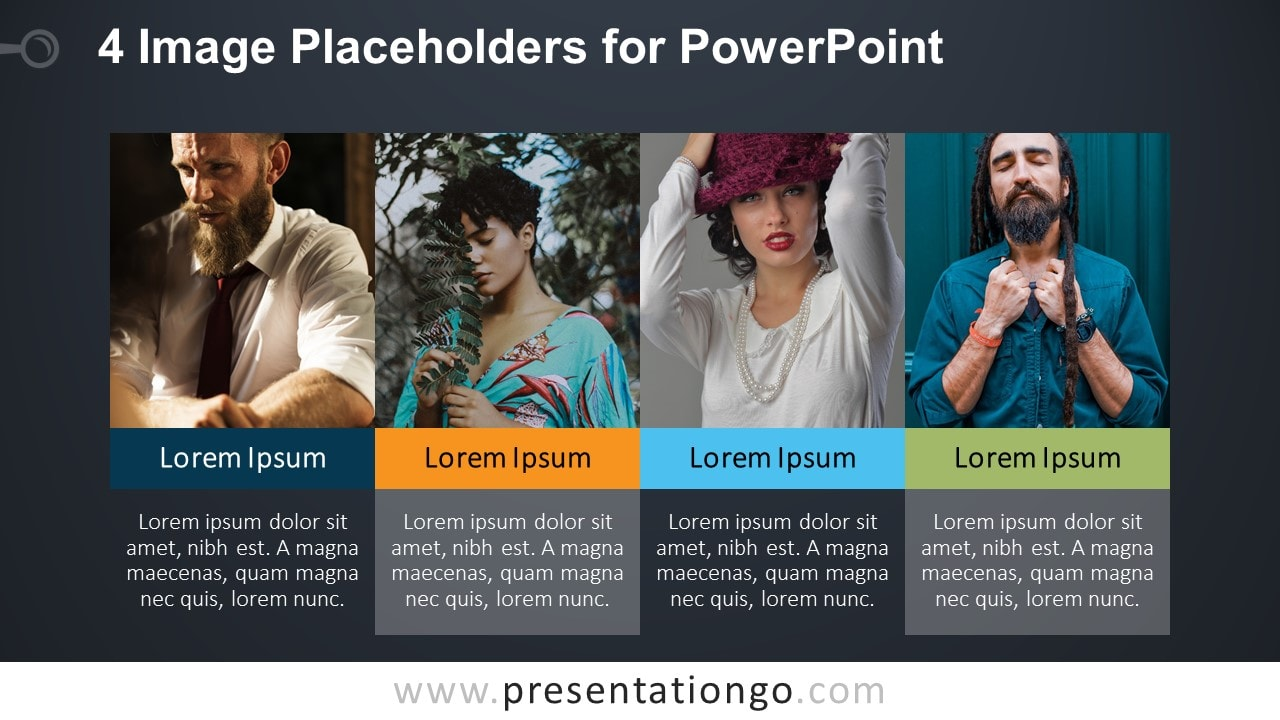 4 Image Placeholders - PowerPoint Template Slide with Photos