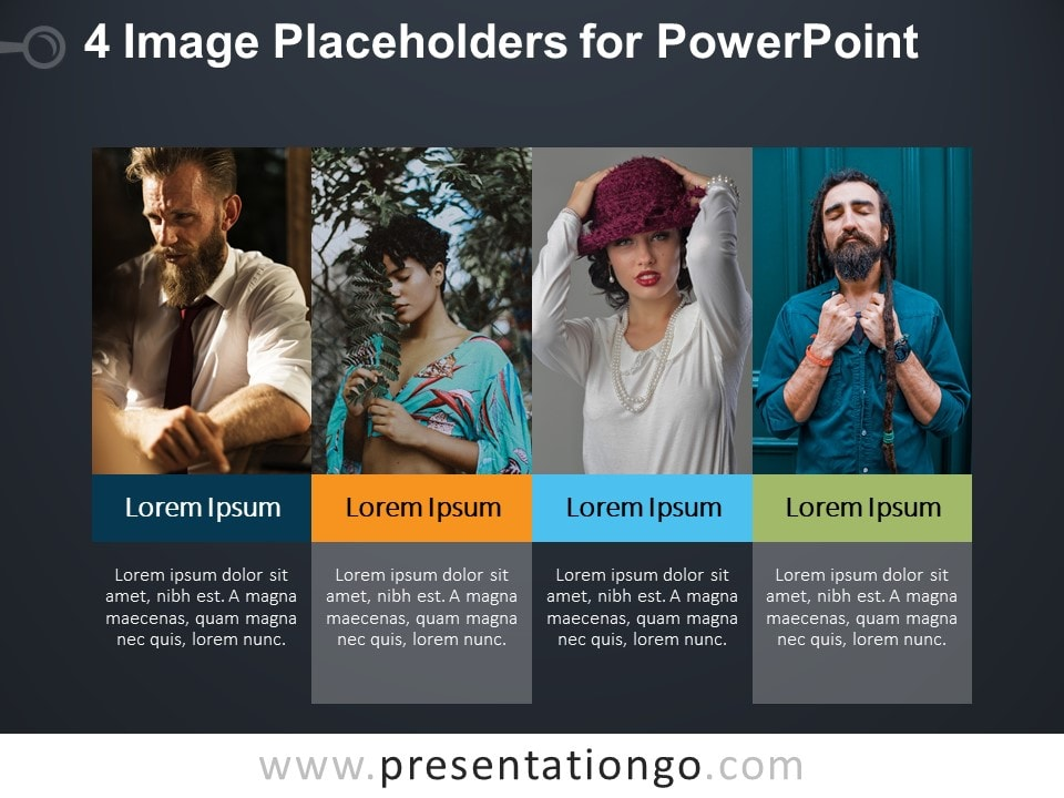 4 Image Placeholders PowerPoint Template Slide