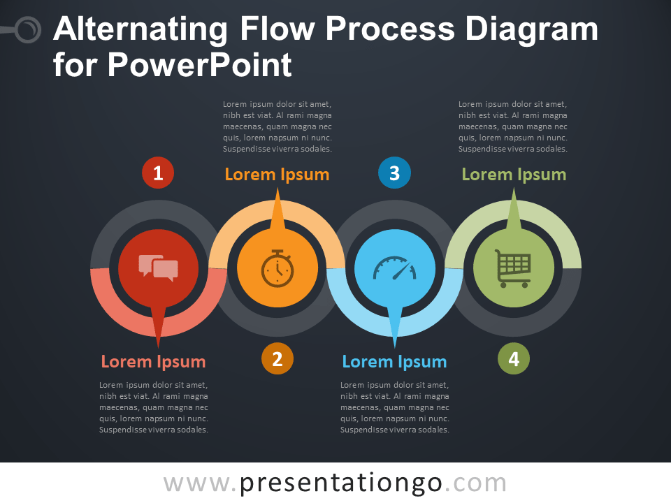 Alternating Flow Process Diagram for PowerPoint ...