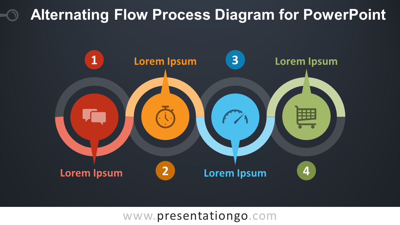 Free Alternating Flow Process for PowerPoint - Dark Background