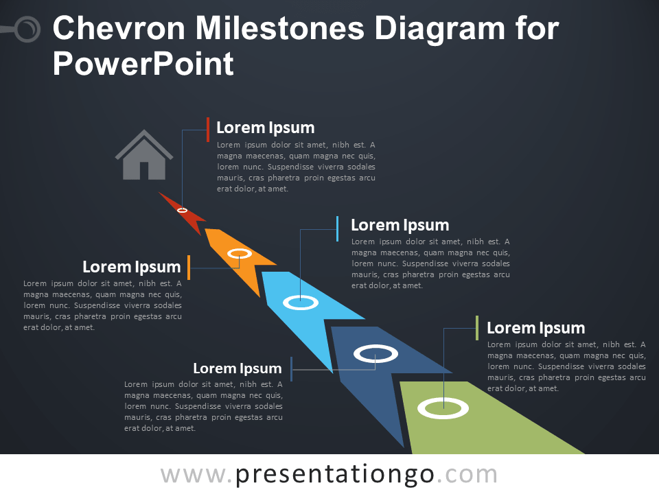 Free Chevron Milestones for PowerPoint - Dark
