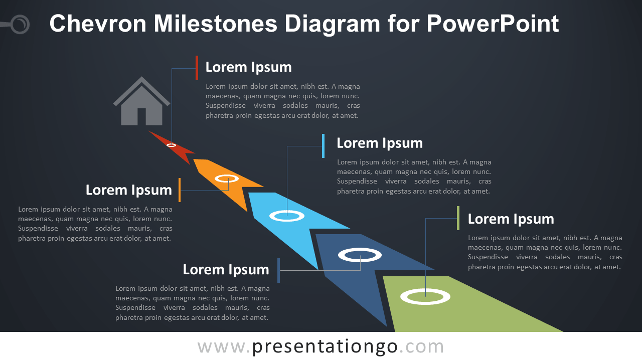 Free Chevron Milestones PowerPoint Diagram - Dark Background