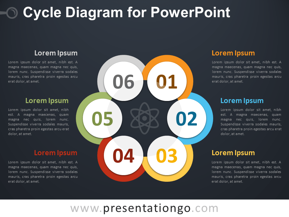 Free Cycle Diagram for PowerPoint - Dark Background