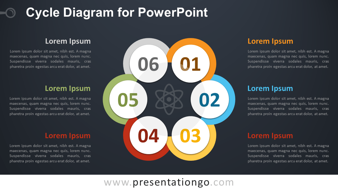 Free Cycle Diagram PowerPoint Template - Dark Background