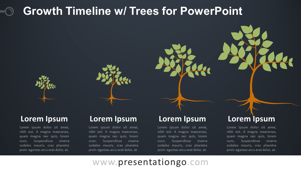 Free Growth Timeline with Trees Infographics for PowerPoint - Dark Background