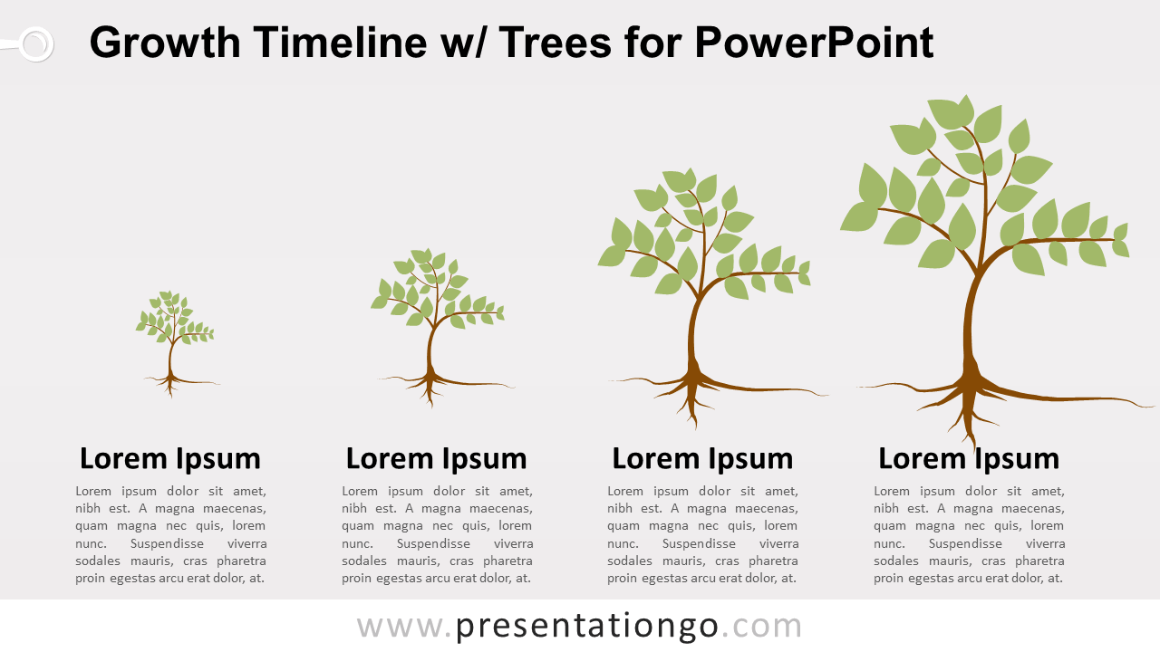 Free Growth Timeline with Trees Infographics for PowerPoint