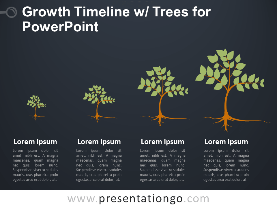 Free Growth Timeline with Trees for PowerPoint - Dark Background