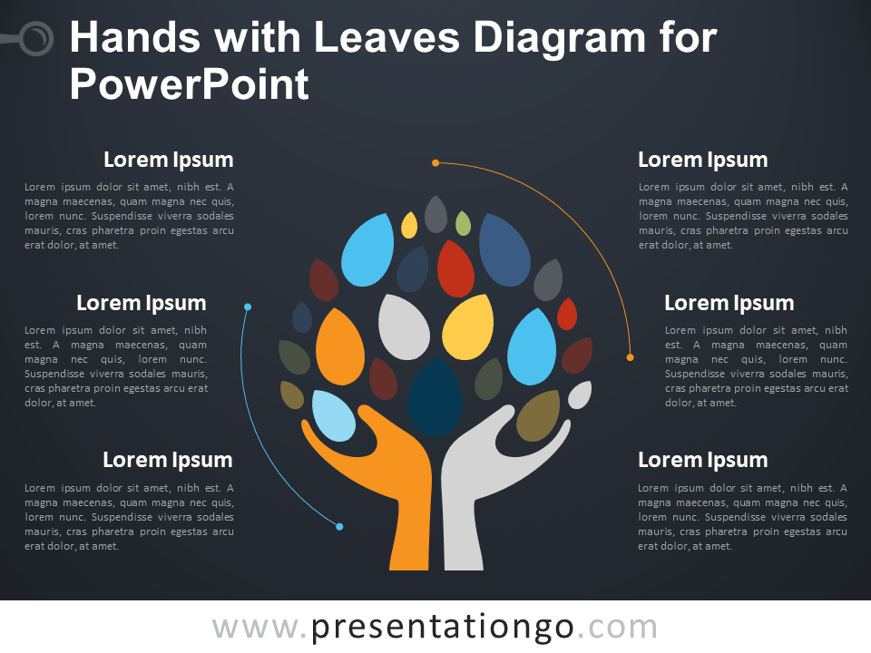 Free Hands with Leaves Diagram for PowerPoint - Dark Background