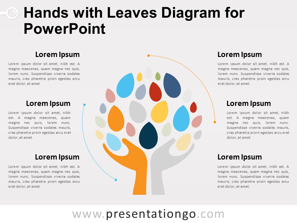 Free Hands with Leaves Diagram for PowerPoint