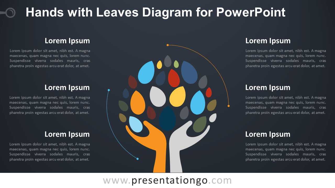 Free Hands with Leaves Graphics for PowerPoint - Dark Background