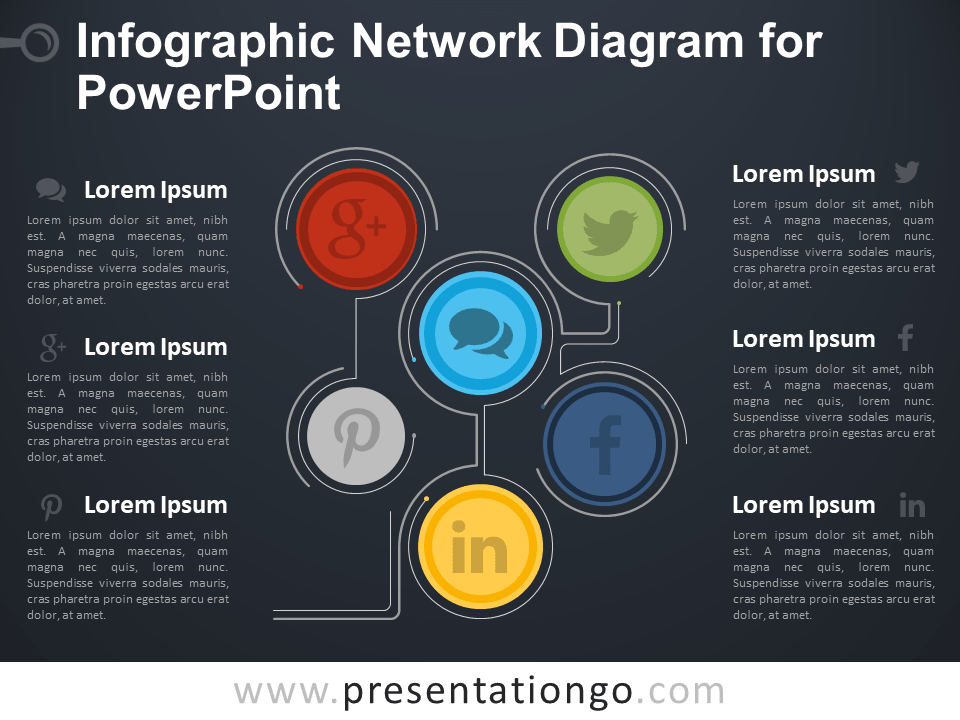 Free Infographic Network Diagram for PowerPoint - Dark Background