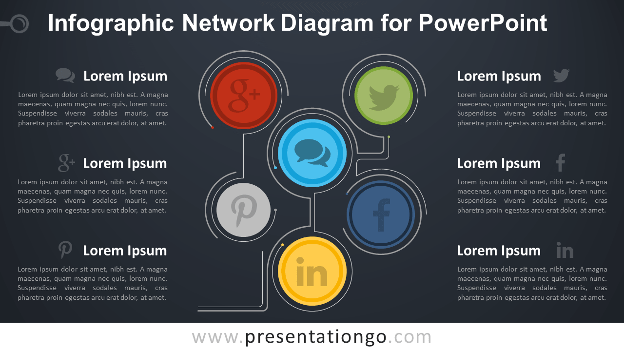 Free Infographic Network PowerPoint Diagram - Dark Background