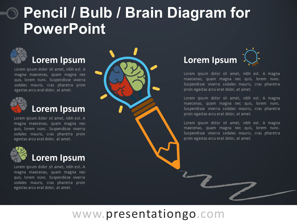 Free Pencil Bulb Brain Diagram for PowerPoint - Dark Background