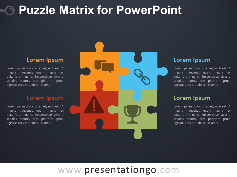 Free Puzzle Matrix Diagram for PowerPoint - Dark Background
