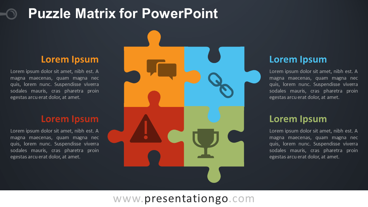 Free Puzzle Matrix for PowerPoint - Dark Background