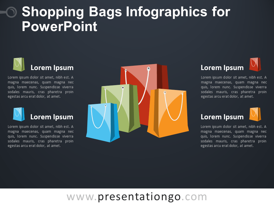 Free Shopping Bags Infographics for PowerPoint - Dark Background