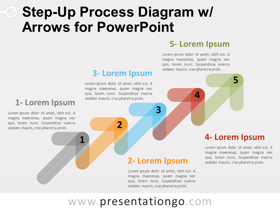 Free Step-Up Process Diagram with Arrows for PowerPoint