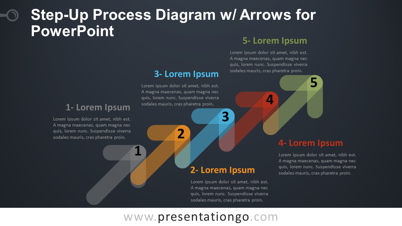 Free Step-Up Process Diagram for PowerPoint - Dark Background