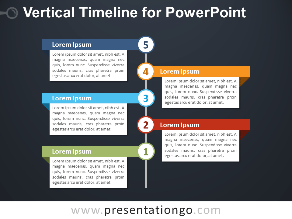 Free Vertical Timeline for PowerPoint - Dark Background