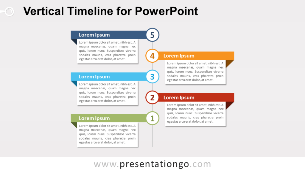 Free Vertical Timeline with Text Boxes for PowerPoint