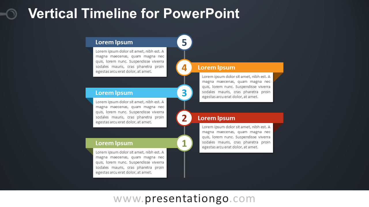 Free Vertical Timeline with Text Boxes for PowerPoint - Dark Background