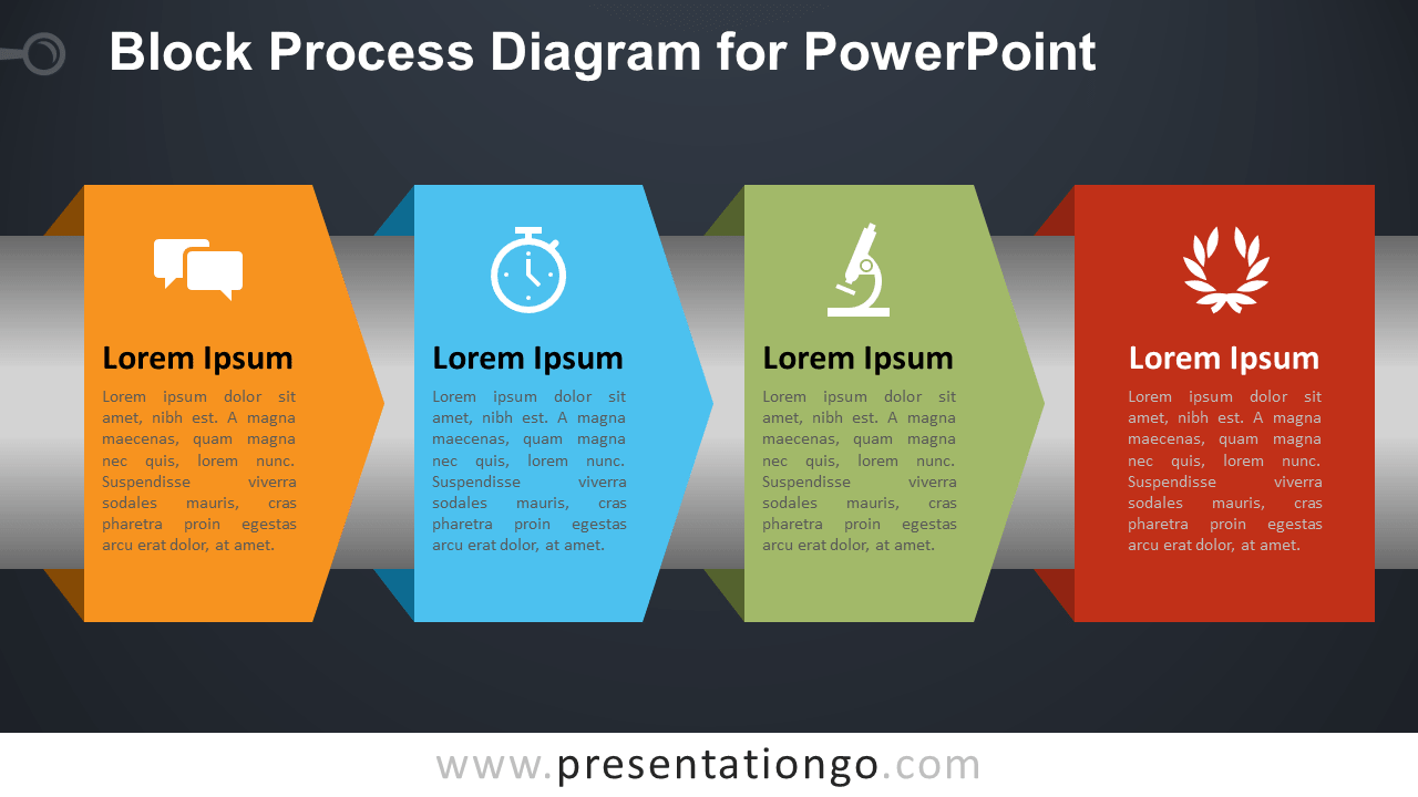 Free Block Process for PowerPoint - Dark Background