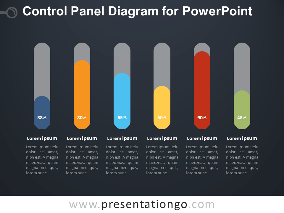 Free Control Panel Diagram for PowerPoint - Dark Background