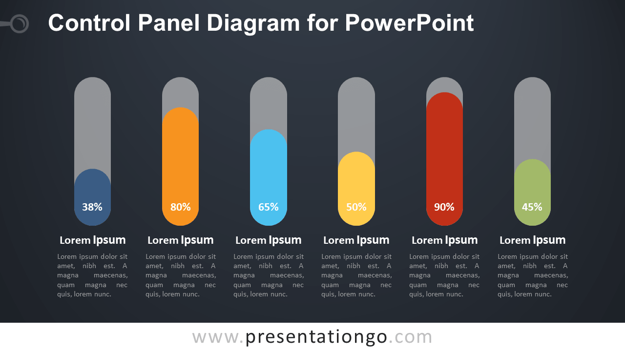 Free Control Panel Infographic for PowerPoint - Dark Background