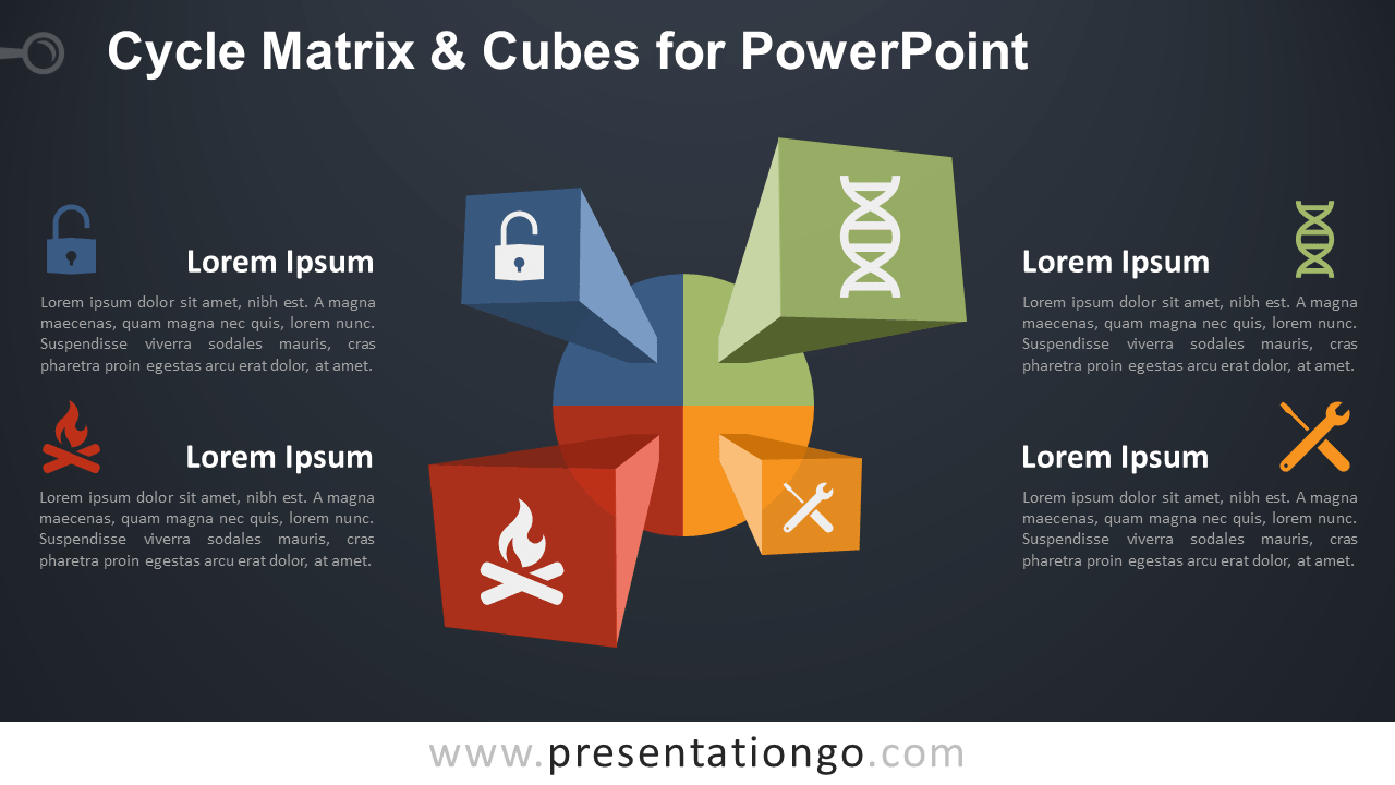 Free Cycle Matrix and Cubes Diagram for PowerPoint - Dark Background