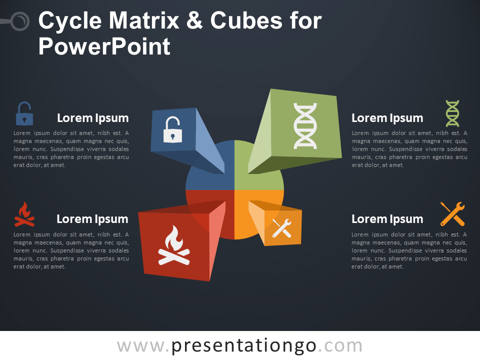 Free Cycle Matrix and Cubes for PowerPoint - Dark Background