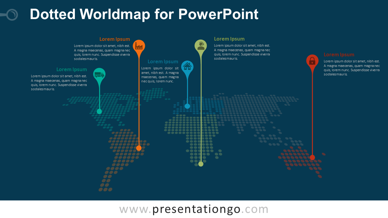 Free Dotted World Map with Pins for PowerPoint - Dark Background