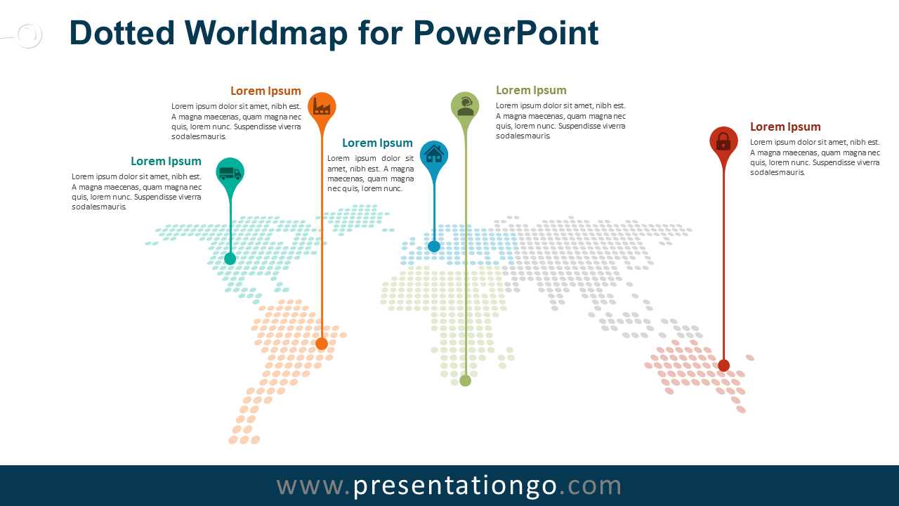 Free Dotted World Map with Pins for PowerPoint