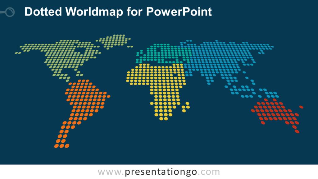 Free Dotted World Map PowerPoint - Dark Background