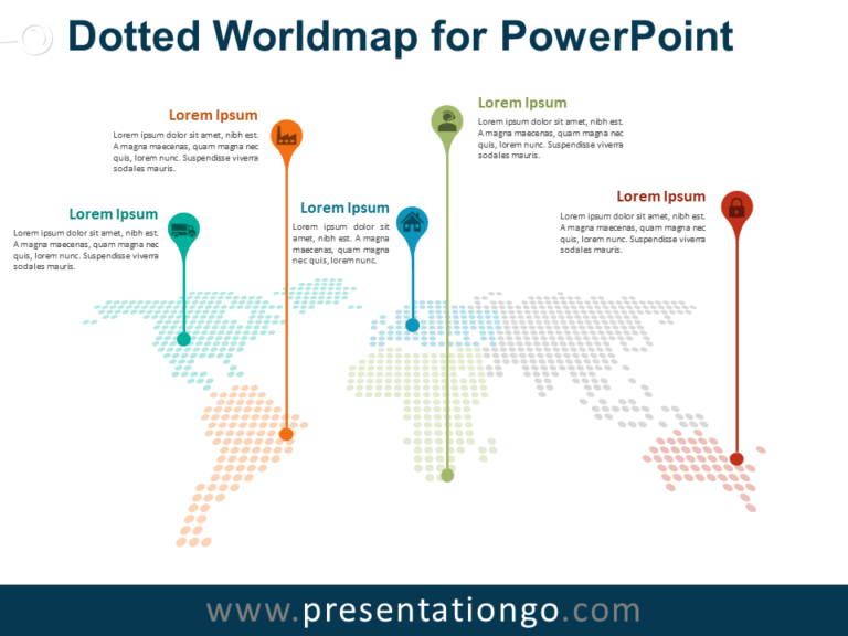 Free Dotted Worldmap with Pins for PowerPoint