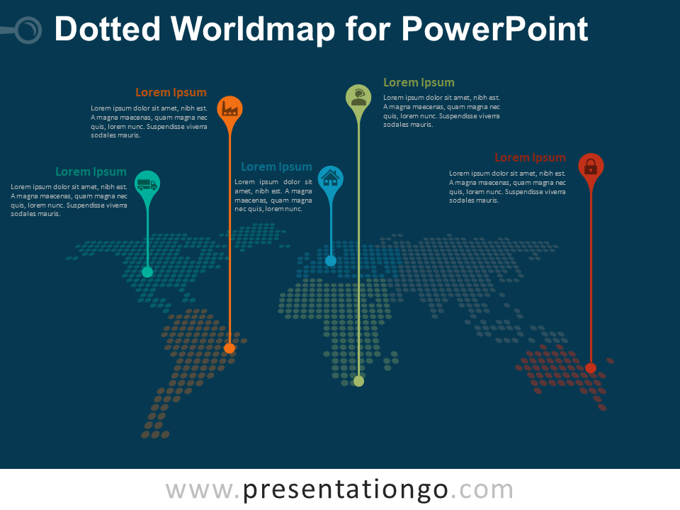 Free Dotted Worldmap with Pins for PowerPoint - Dark Background