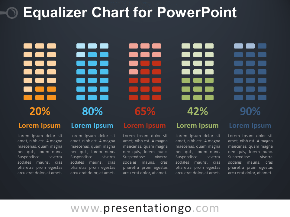 Free Equalizer Chart for PowerPoint - Dark Background